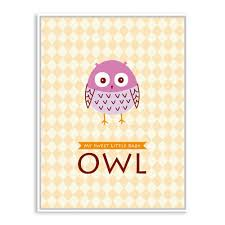 modern cute owl animal bird letter drawing poster prints a4