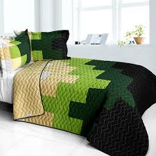 Green And Black Comforter Sets Queen Geometric Colorblock Bedding Green Black Full Queen Quilt Set Teen