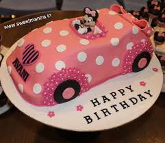 disney minnie mouse car shaped themed 3d designer fondant cake
