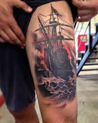 cool boat on water of skulls tattoo on thigh tattoos book