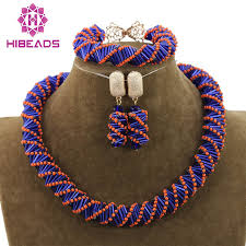 handmade necklace with beads images Unique orange blue mix jewelry beads necklace set handmade choker jpg