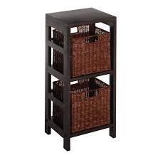 amazon com winsome wood leo wood 2 tiered shelf with 2 rattan