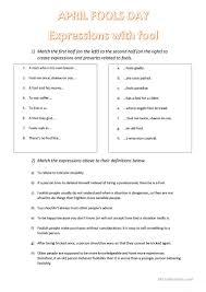 Irony Worksheet April Fool U0027s Day Expressions With Fool Worksheet Free Esl