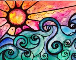 Items Similar To Art Print - items similar to sunset print sun art print painting beach waves