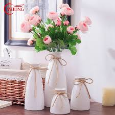 white ceramic flower ornamental vase glazed decoration home