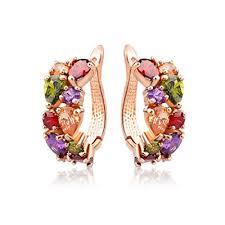 trendy gold earrings cubic zirconia trendy plant shape gold plated hoop earrings