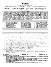 exles of resume resume for hospitality venturecapitalupdate