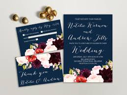 Blank Wedding Invitation Card Stock Floral Wedding Invitation Suite Printable Wedding Invitation