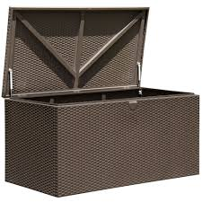 suncast resin wicker 22 gallon deck box 202213 patio storage with
