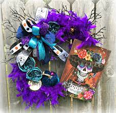 Sugar Skull Wreath Miss Sugar Skull Fiesta Wreath Dia De Los