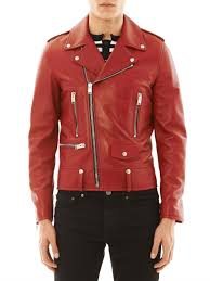 motorcycle coats saint laurent leather motorcycle jacket in red for men lyst