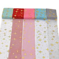 gold star table runner online shop 6cm 5m tissue paper tulle roll golden star table runner