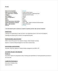 Sample Resume For Teachers Freshers 28 Teacher Resume Templates Download Free U0026 Premium Templates