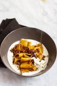 mezzi paccheri pasta with burrata cream guanciale and saffron