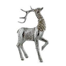 reindeer figurine resin painted silver deer