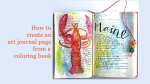 how to create an art journal page from coloring book youtube