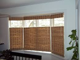 bay window decorations with natural bamboo folding curtain design