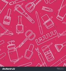 seamless pattern manicure pedicure doodle equipment stock