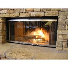 living room contemporary style stainless glass fireplace door