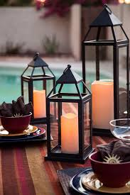 Patio Latern Pool Side Outdoor Lanterns With Flameless Candles Traditional