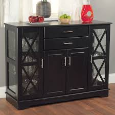 Dining Buffets And Sideboards Black Wood Buffet Dining Room Sideboard With Glass Doors