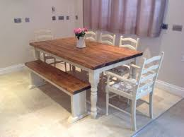 farm table with bench shabby chic rustic farmhouse solid 8 seater dining table bench and 6