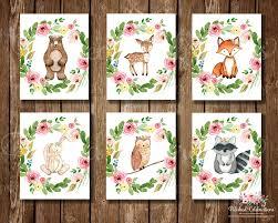 woodland animals series 8x10 nursery art floral printable