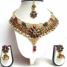 color stone necklace images Red green and golden color stone studded bridal necklace set hayagi jpg