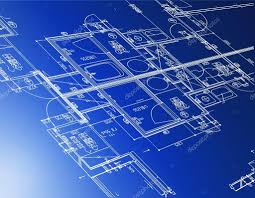 sample of architectural blueprints over a blue background