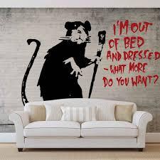 Stencil Giganti by Carta Da Parati Banksy Graffiti Muro In Cemento Con Ratto