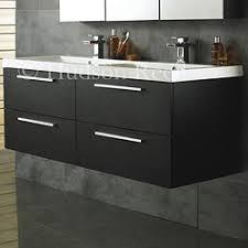 double sink wall hung vanity unit hudson reed quartet wall hung double basin unit black