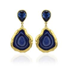 statement earrings designer statement earrings blue gold mall of style