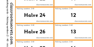 matching cards and worksheets to halve numbers 2 40 teaching