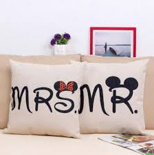 mr and mrs pillow linen mr mrs mickey and minnie pillows for the home