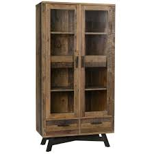 farmhouse rustic reclaimed wood curio cabinet with doors zin home