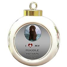 i love my poodle brown dog round ball christmas ornament oodles
