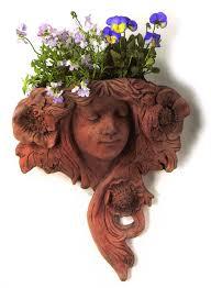 art nouveau lady terracotta wall planter