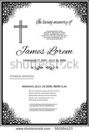 funeral template card simple line cross stock vector 561904123