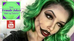 glam female joker make up tutorial youtube
