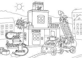 lego fire station coloring page for kids printable free lego