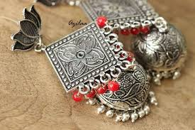 red antique necklace images Red antique ethnic lotus stud jhumki earrings at 1550 azilaa jpg