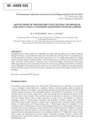 application of non destructive testing techniques for structural