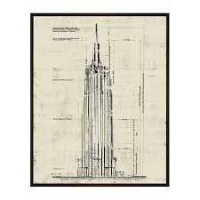 empire state building architectural drawing sepia 17 75
