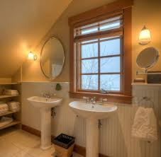 beadboard wainscoting ideas bathroom farmhouse with oval mirror
