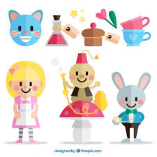 flat alice wonderland characters vector premium download