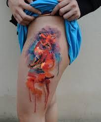 fox watercolor by ondrash design of tattoosdesign of tattoos