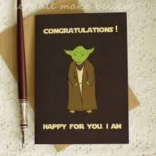 wars congratulations card graduation card wars yoda inspired wars grad party