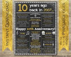 10 year anniversary gift for 10th anniversary gift ideas 10th anniversary poster 10th