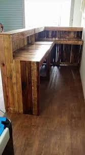 Industrial Style Reception Desk Upcycled Reception Desk Using Pallets And Scaffold Boards And Led