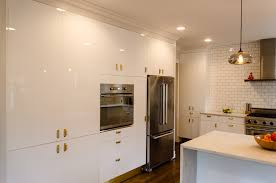 luxury white laminated kitchen cabinet decor with ceiling lights